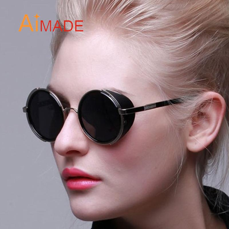 026dc9ef494 Wholesale Aimade Vintage Steampunk Round Sunglasses Men Women Fashion Punk Style  Retro Gothic Metal Frame Sun Glasses Male Female Eyewear Smith Sunglasses  ...