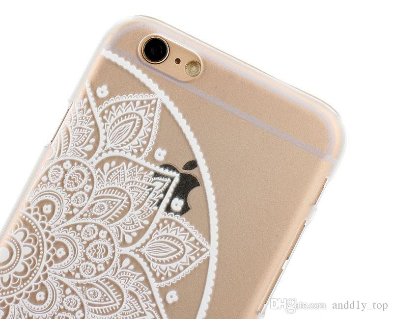 Henna blanco floral flor de Paisley Mandala cubierta de la caja de la PC de plástico duro para Samsung Galaxy S4 S5 Mini S6 Edge Note 5 Note5 SM-300