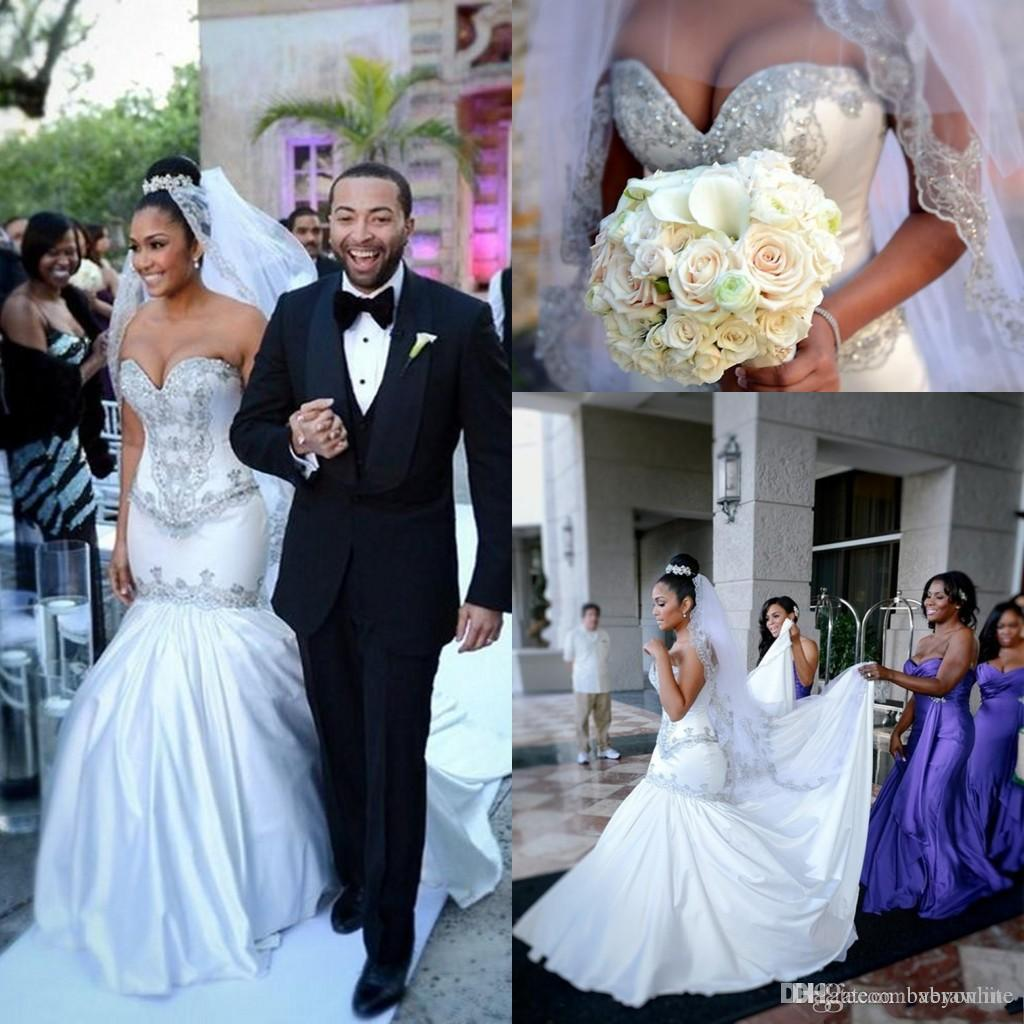 south africa new arrival mermaid satin wedding dresses shiny sequins