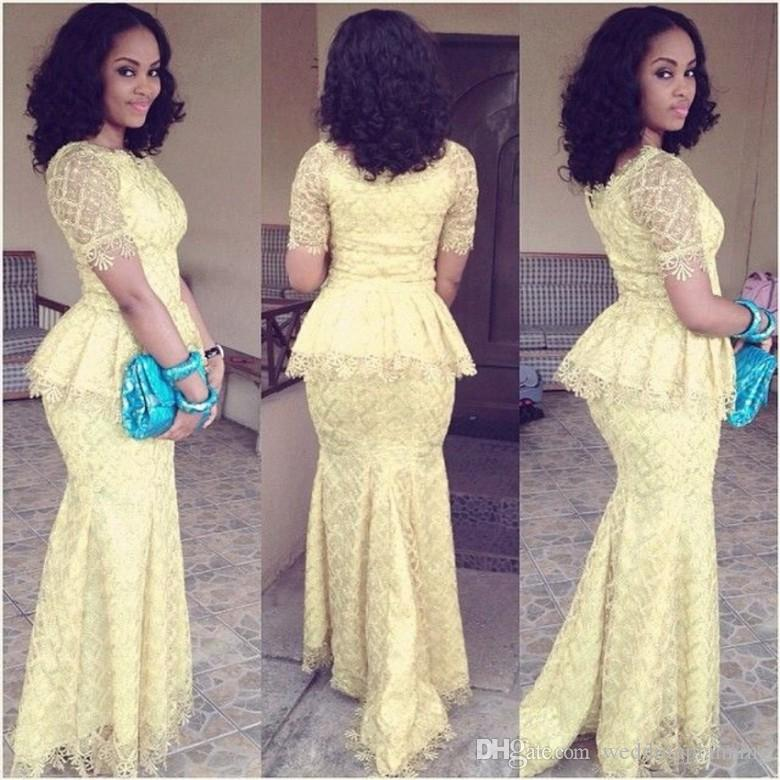 Aso Ebi A Style Curve Dresses Evening bellanaija weddings Floor Length Short Sleeves Party Formal Wear Lace Luxury Traditional Evening Dress