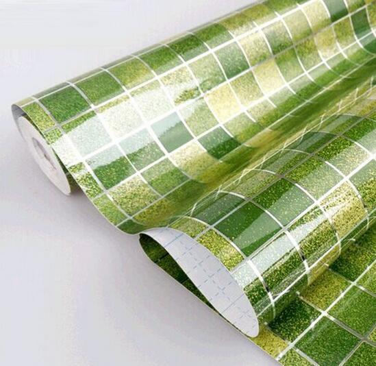 Papel de Parede Quente Anti Óleo Papel de Parede Mosaico de Alumínio Cinzento para Cozinha Papel de Parede Resistente à Água de Alta Temperatura