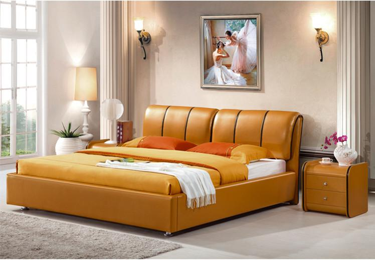 2018 Genuine Leather Bed Luxury Style Golden Simple Fasion Double ...