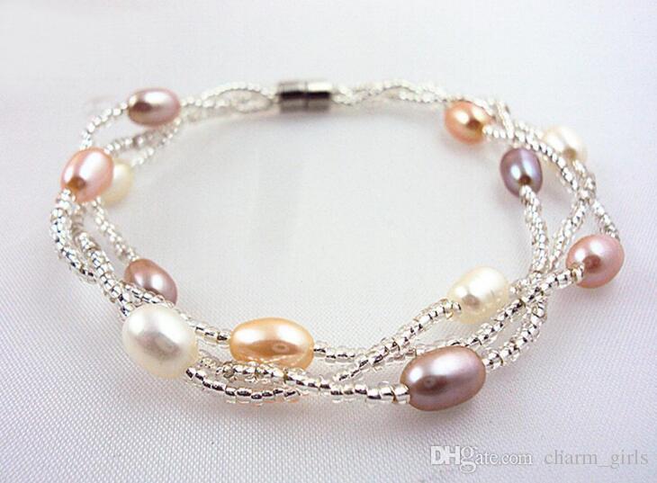6-7MM reine natürliche Süßwasser Oyster Perlen Armband Multi-Layer-Perlenschmuck mit magnetischen Schnalle Armbänder Hochzeit Perlenarmband