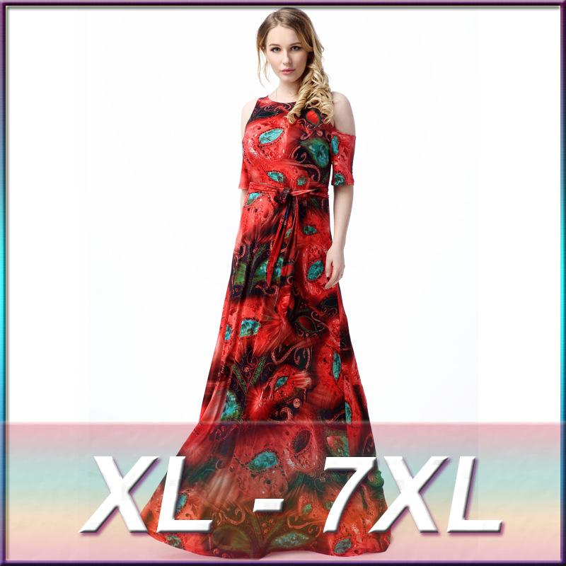 L 7xl Large Plus Size Womens Maxi Long Fashion Green And Red Mask