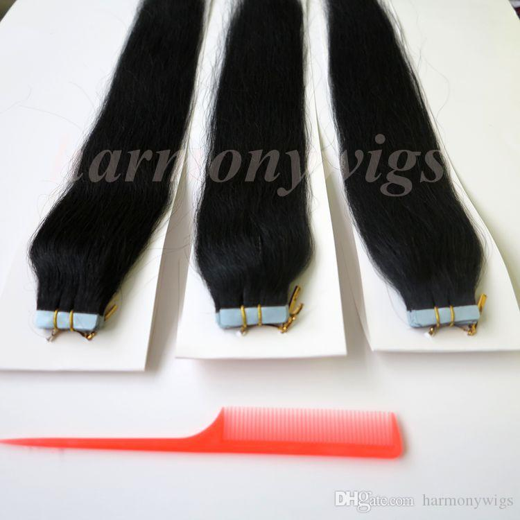 50g Glue Skin Weft Tape in Hair Extensions brazilian Indian Human hair 18 20 22 24inch #1/Jet Black