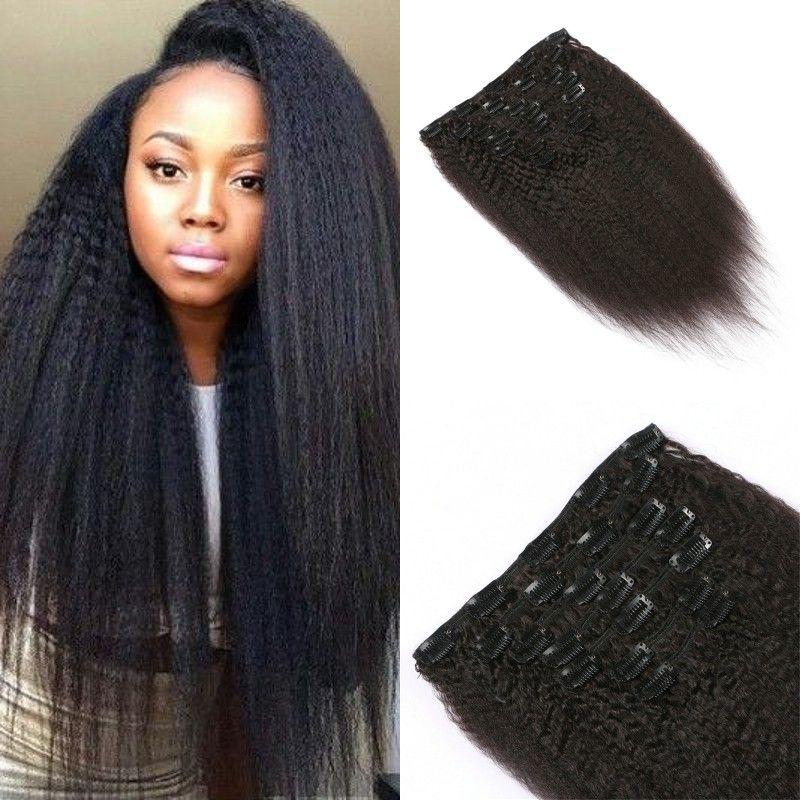 Clip In Human Hair Extensions Mongolian Virgin Hair Kinky Straight 8