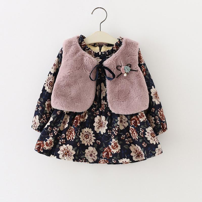 Inverno Bebê Crianças Meninas Crianças Crianças Faux Fur Velo Colete Colete + Princesa Do Vintage Vestido de Manga Longa Vestido Set