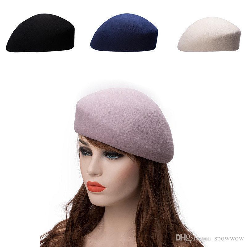 Unisex Women Men 100% Wool Felt Tilt Church Dress Fascinator Beret Hat  Pillbox Cocktail Party A468 UK 2019 From Spowwow 6f1e85482b4