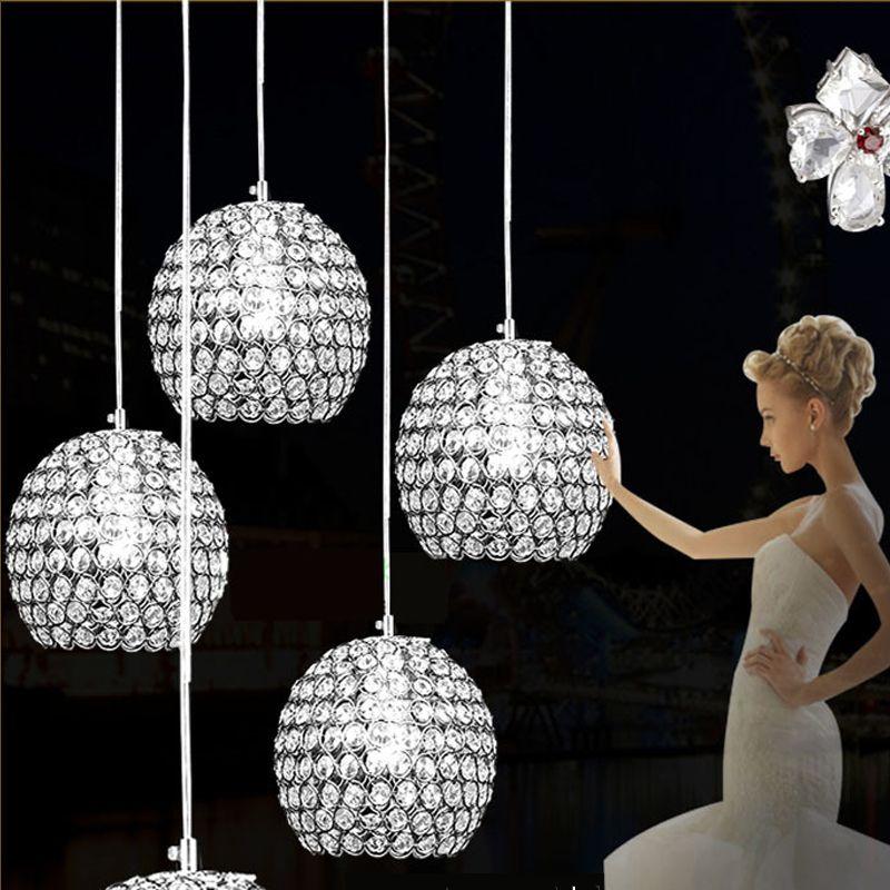 Chandeliers Cheap E27 E14 LED Pendant Lamps Competitive Electroplating Crystal LED Pendant Lamps Fit for Foyer 110V 220V Voltage sj-007