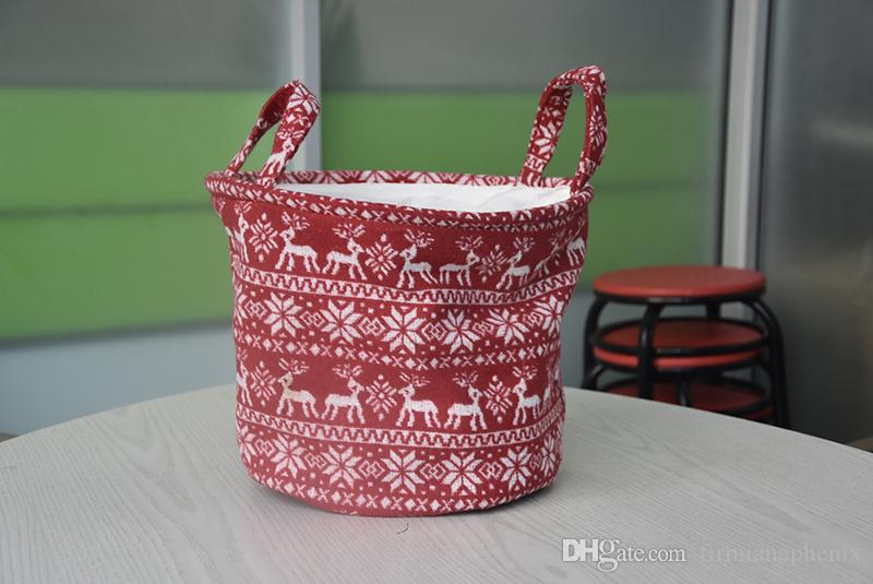 2017 home household woolen laundry elk patterns handles storage basket clothing sundries organizer christmas gifts