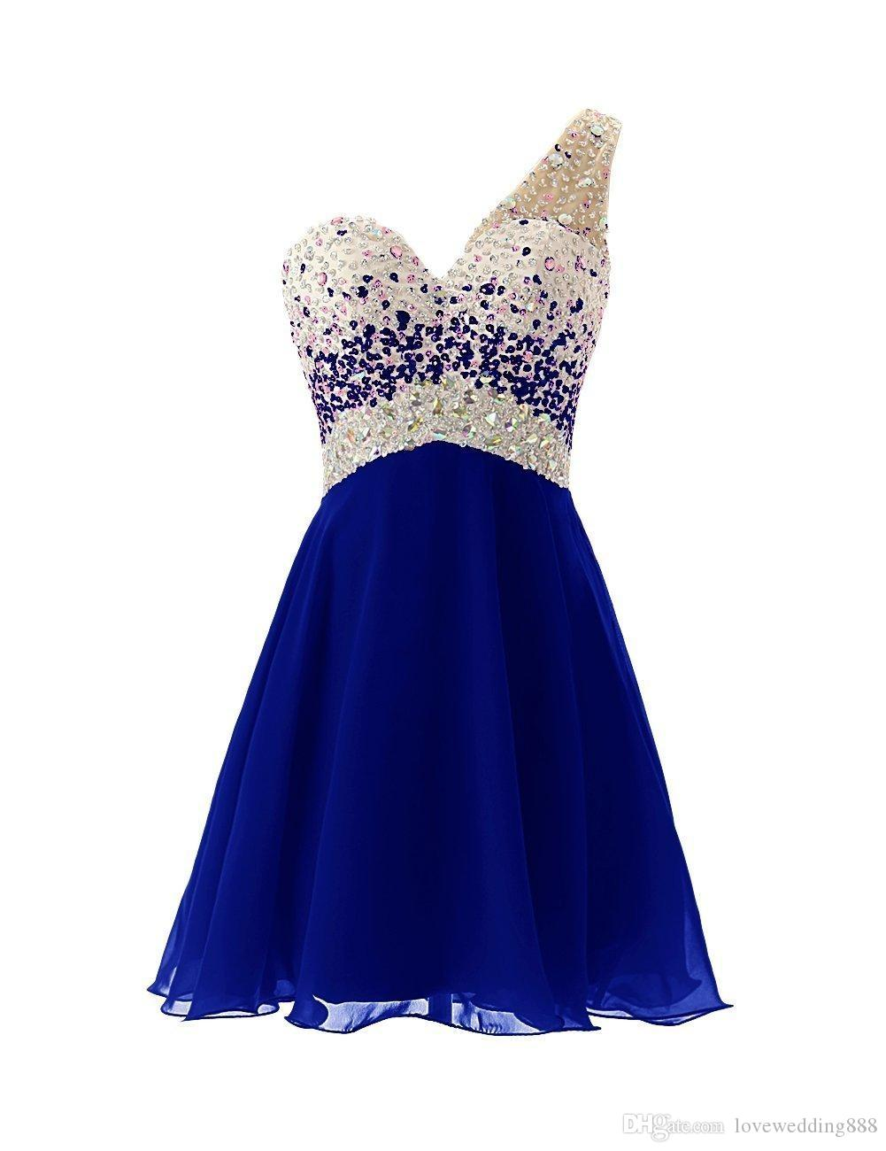One Shoulder Short Homecoming Dresses A Line Chiffon Backless Crystals Beaded Sequin Under 100 Short Prom Party Dress Custom Made