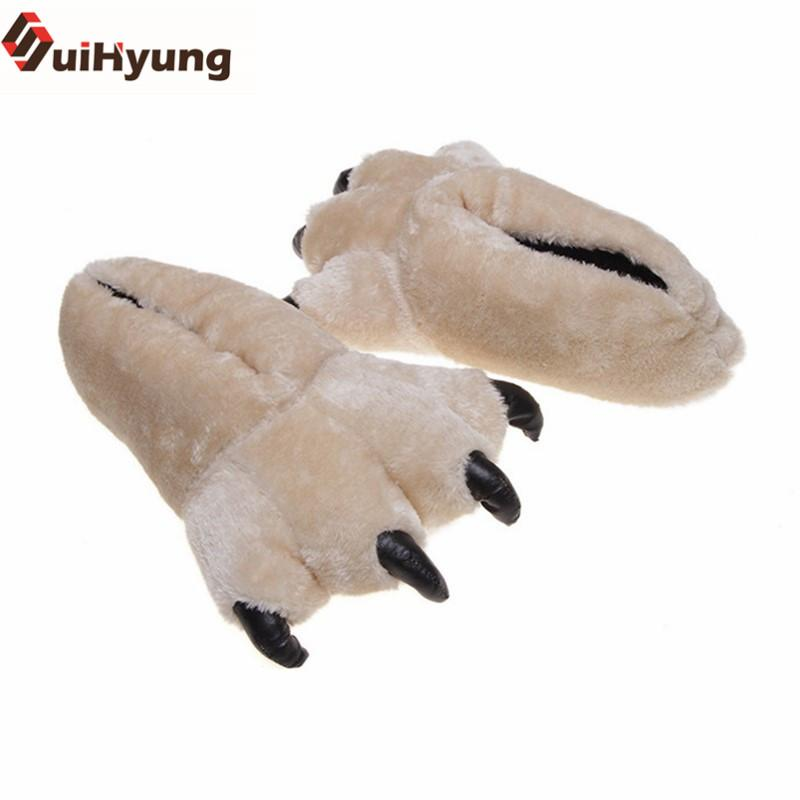 Suihyung New Winter Warm Indoor Shoes Creative Bear Claw Shape Home Slippers Unisex At Home Shoes Plush Leopard Floor Slippers