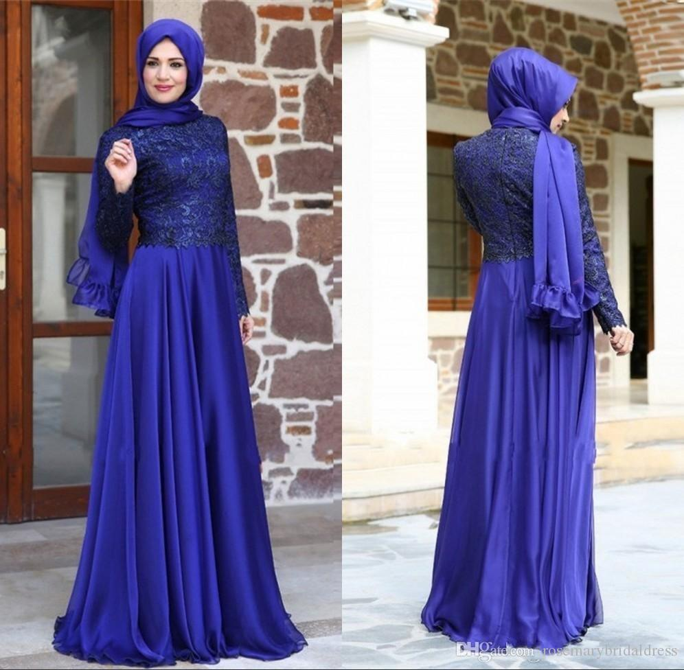 Newest Muslim Evening Dresses 2016 Long Sleeve High Neck/Collar ...
