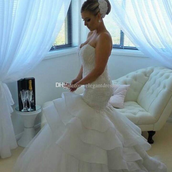 مخصص حورية البحر فساتين الزفاف الدانتيل 2021 الحبيب حمالة قطار مصلى الأورجانزا لطبقات ثوب الزفاف حفل زفاف