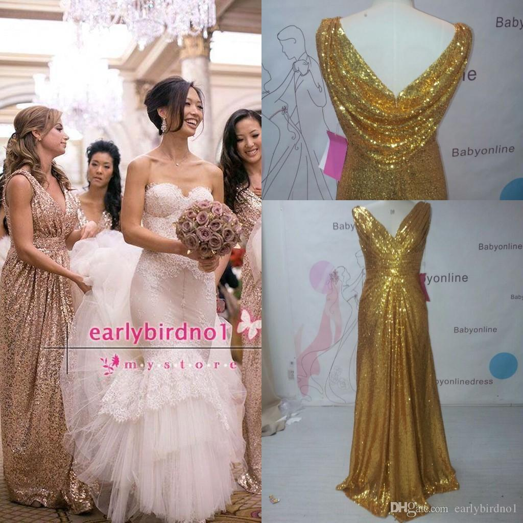 2016 real image gold long bridesmaid dresses v neck pleated a line 2016 real image gold long bridesmaid dresses v neck pleated a line cowl back spring maid of honor gowns custom bo7189 lace bridesmaid dresses cheap maid of ombrellifo Images