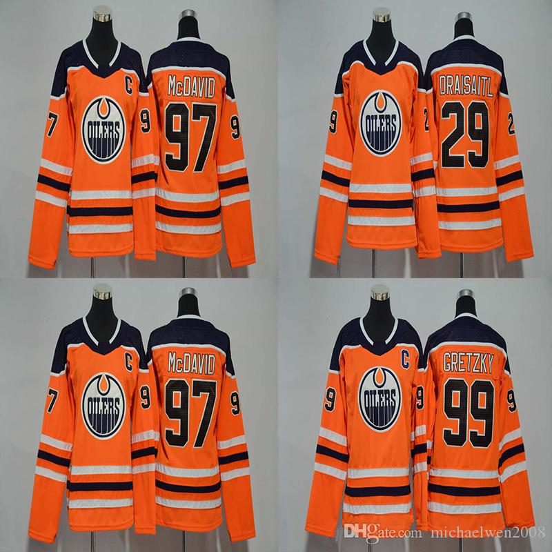 376f0243c 2019 Lady 2017 2018 Season Edmonton Oilers Jersey 97 Connor McDavid 29 Leon  Draisaitl 99 Wayne Gretzky Women Hockey Jerseys Cheap From Michaelwen2008