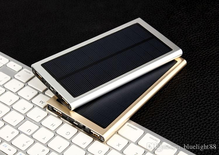20000mAh Solar Power Bank 2 USB Port Charger External Backup Battery With Retail Box For iPhone iPad Samsung Mobile Phone