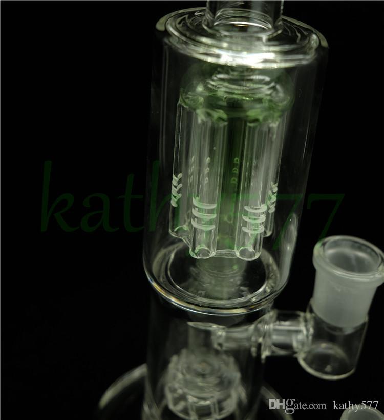 2015 Ora Bong verde da 11,8 pollici Bong in vetro con filtro a due strati Catcher di tubi di cenere Toro e diffusore verde Percolatore in vetro Bubbler