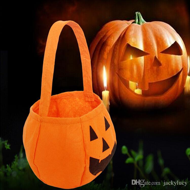 Creative Halloween Props Trick or Treat Pumpkin Candy Bag Basket Cute Non-woven Smile Face Handdle Pouch