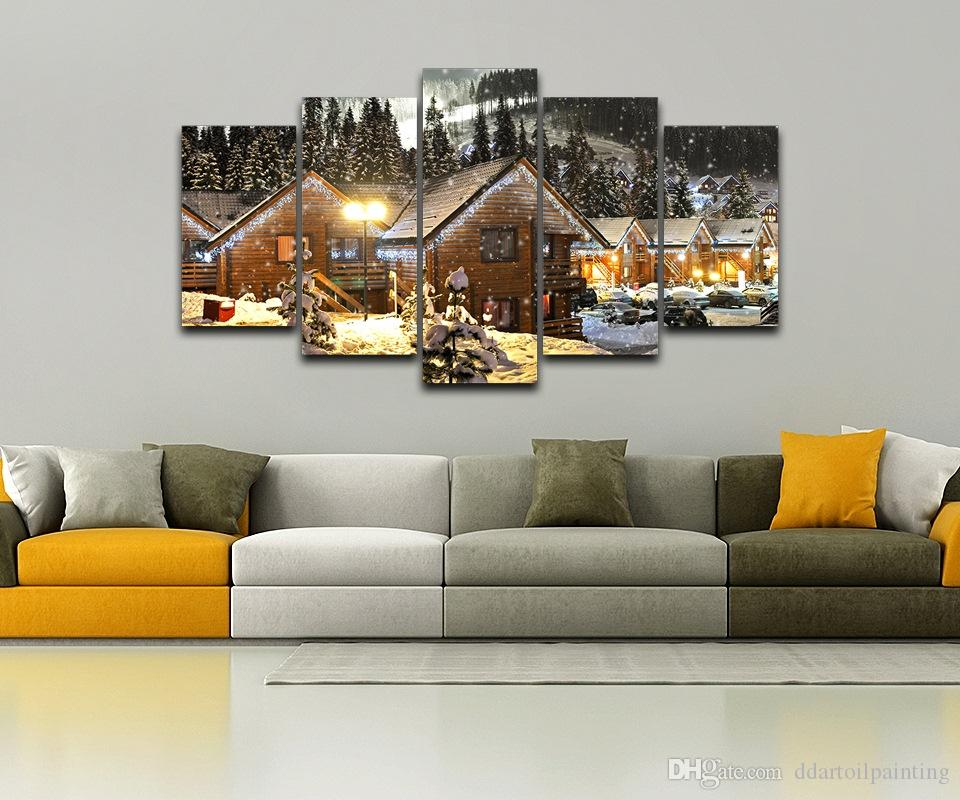 Christmas Tree Night Paintings LARGE 60x32 Inches 5Panels Art Canvas Print Snow House Christmas Tree Night Posters Wall Home Decor inte