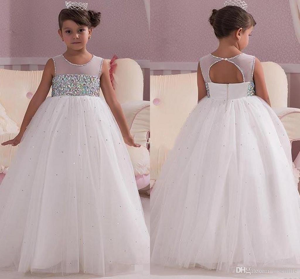 df572f826 Princess White Wedding Flower Girl Dresses Empire Waist Crystals ...