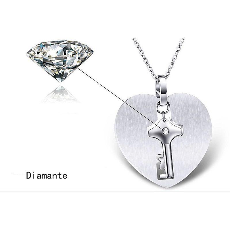 진짜 티타늄 애호가의 보석 세트 열린 심장 잠금 팔찌 참 키 펜던트 목걸이 커플 웨딩 발렌타인 데이 선물 액세서리