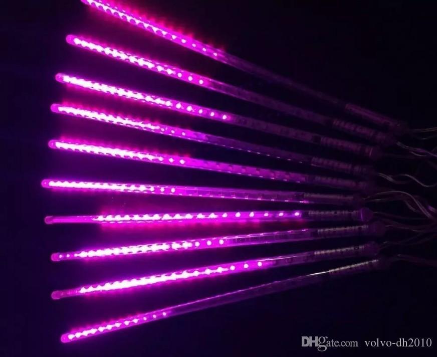 Lumières de pluie de pluie de météores de LED, goutte de glaçon tombant goutte de pluie 30 cm 8 tubes lumières en cascade imperméables pour le mariage de noël décor LLFA