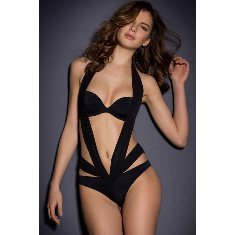 00d69227bf 2019 Sexy One Piece Swim Suits Black Halter Teddy With Strapless Bra  Maillot De Bain Monokini Swimsuit From Cwq10