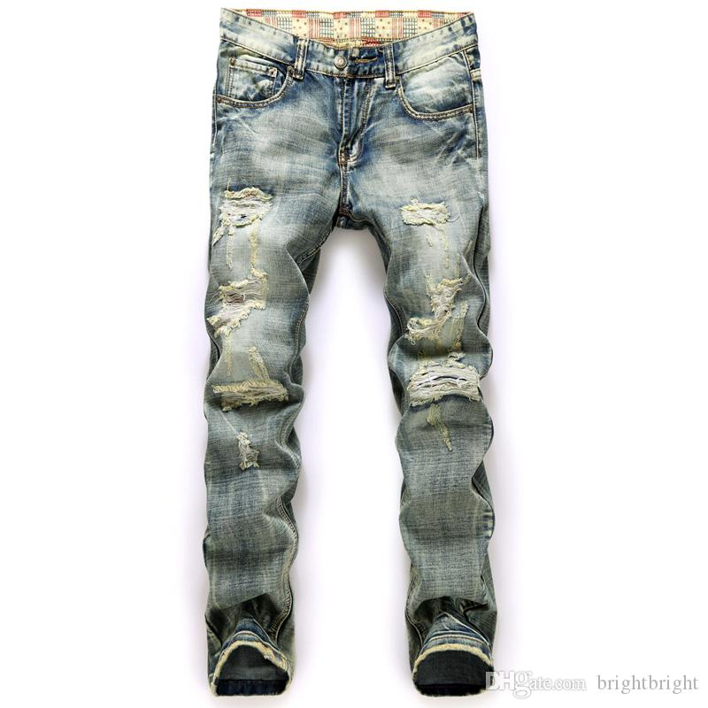 Best Fashion Designer Brand Jeans Men Straight Dark Blue Printed Mens Jeans Ripped Jeans Big