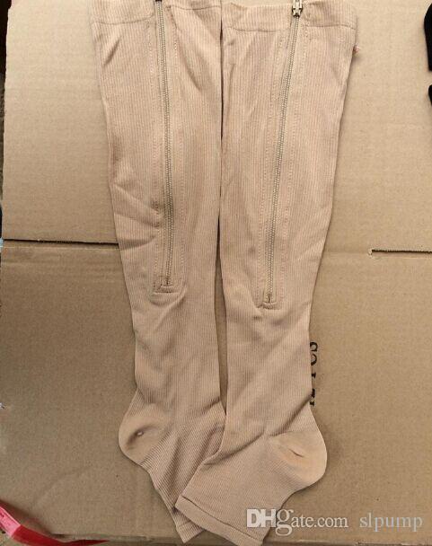 Zip Sox Zip-Up con cremallera compresión calcetines a la rodilla Soporta medias pierna abierta dedo del pie caliente Shaper negro y beige por DHL