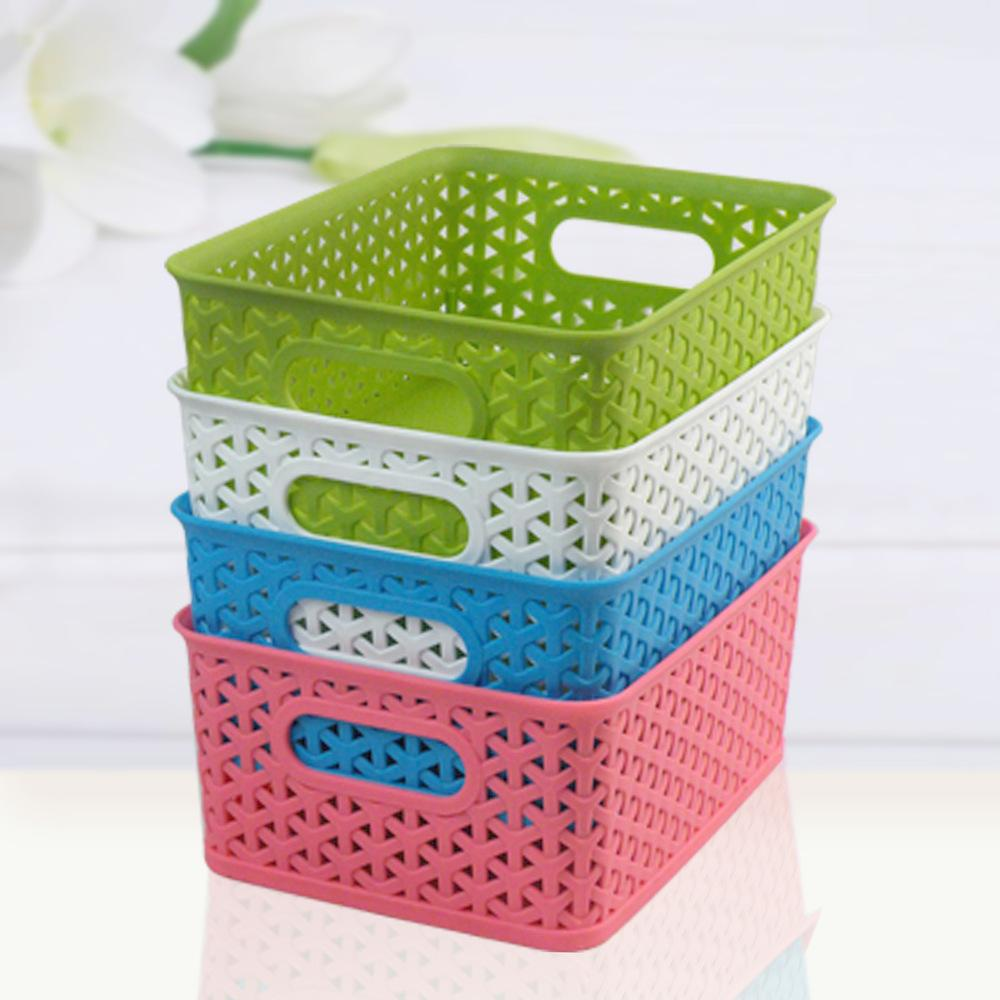 Merveilleux 3316 Colorful Plastic Hollow Korean Small Storage Box Storage Baskets  Storage Basket Woven Plastic Basket Without Cover