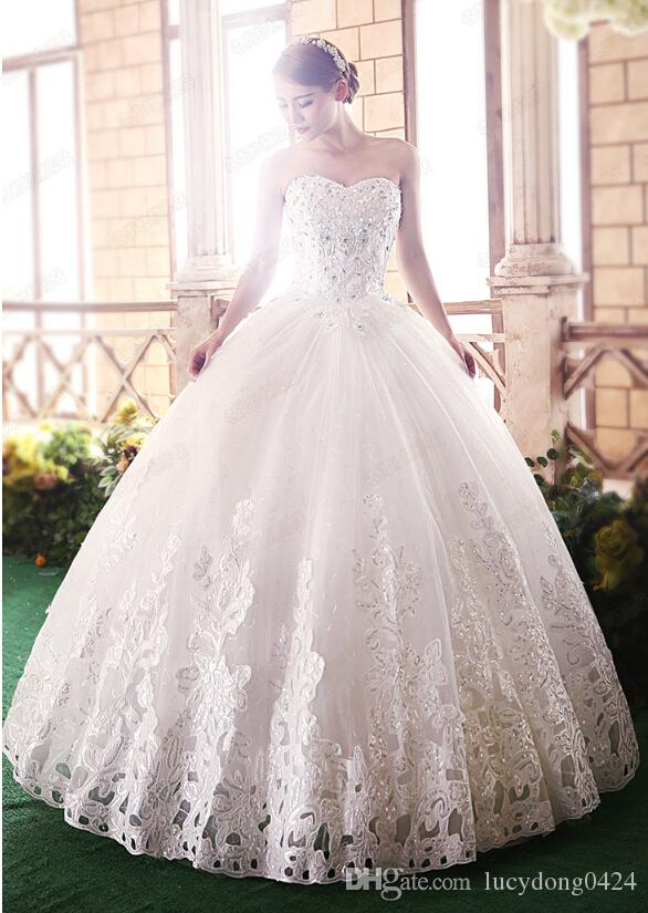 New Arrivals Fantastic Beatiful Sleeveless Elegant Sweet Princess Appliques/Beads Lace up Wrapped Chest Ball Gown Wedding Dresses