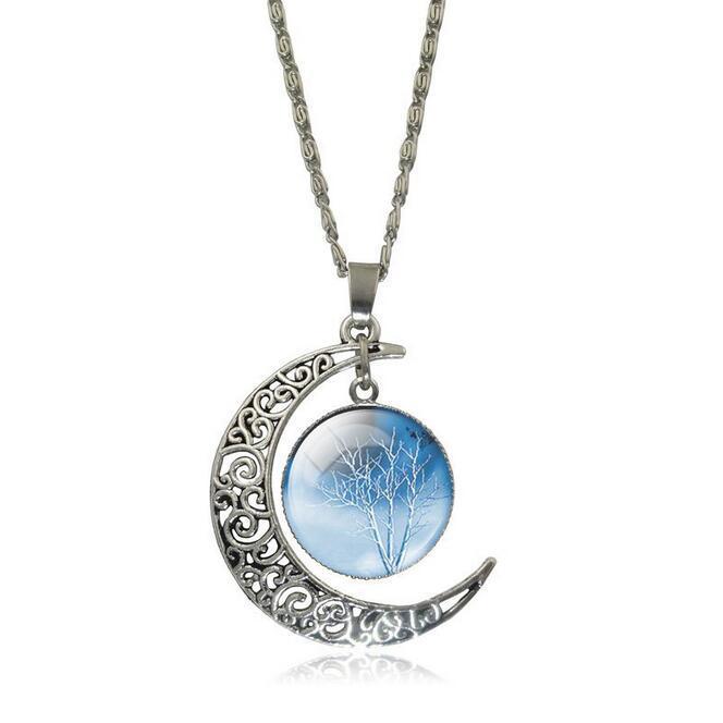 الأزياء مثقوب نحت القمر قلادة قلادة استرخى شجرة الحياة سحر العتيقة الفضة مطلي قلادة للنساء المجوهرات هدية