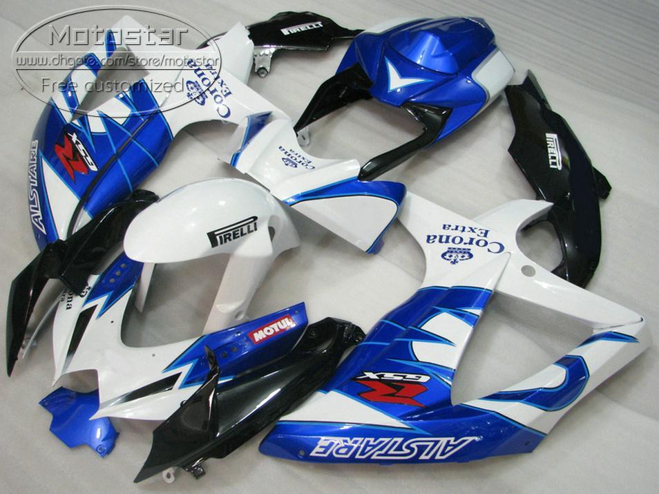 ABS fairing kit for SUZUKI GSX-R750 GSX-R600 2008 2009 2010 K8 K9 blue white Corona fairings set GSXR 600 750 08-10 TA38