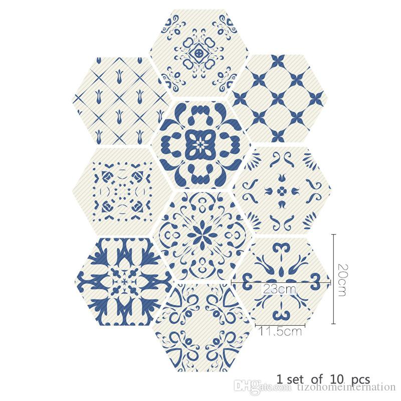 10 teile / los blau und weiß Chinesischen stil Selbstklebende Fliesen Kunst Wandtattoo Aufkleber DIY Küche Badezimmer Wohnkultur Vinyl