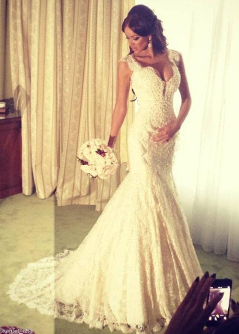 2016 Full Lace Robes De Mariée Perlées V-cou Longue De Charme Gorgeoous Robes De Mariée Retour Retour Sirène Robe De Noiva Robe Mariage WWL
