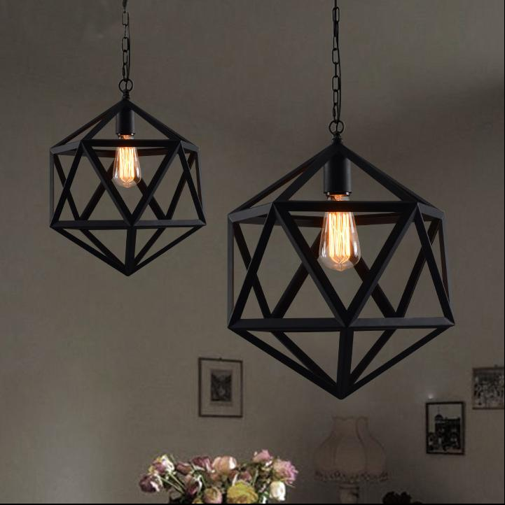Nordic Style Vintage Industrial Iron Pendant Light Retro Country Solid  Geometric Pendant Light Black Color Hanging Lamps Online Globe Pendant  Lighting From ...