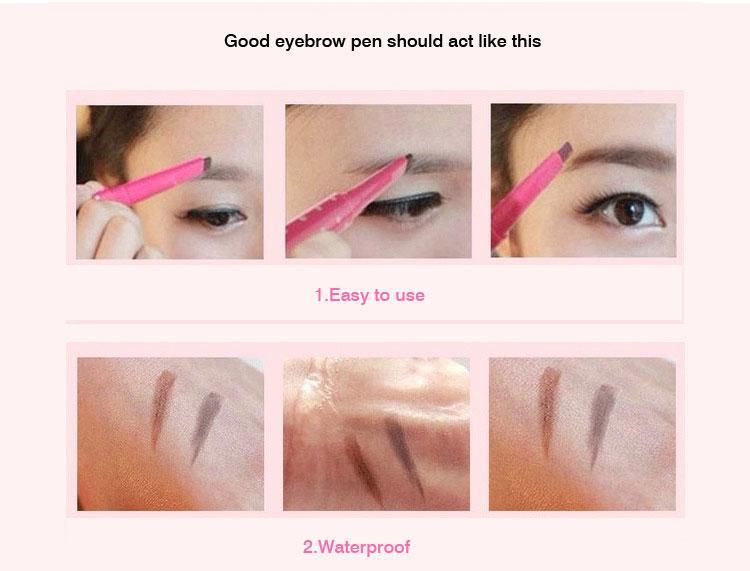 Automatyczny ołówek do brwi 3 kolorowe opcjonalne wodoodporne czoło oka brwi makijaż makijaż, oko brwi Pen Kosmetyczne Make Up 40088
