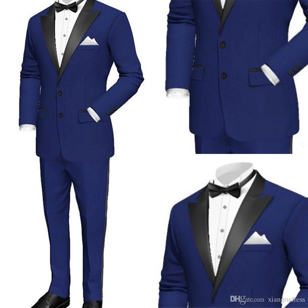 2018 New Royal Blue Wedding Tuxedos for Mens Peaked Lapel Two Button Custom Made Groom Mens Suits Jacket+Pants