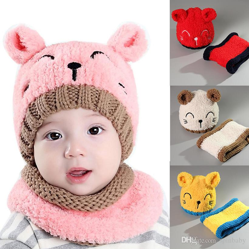 2019 Cartoon Cat Winter Baby Hat With Toddler Baby Hat