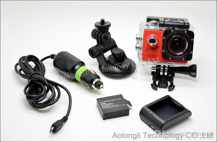 SJ7000 Cámara de acción WiFi resistente al agua + Cargador de batería + soporte + Cargador de coche 1080P Full HD Cámara de deportes Buceo Video Casco Videocámara Coche DVR