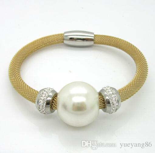 Meistverkaufte romantische Design Gold Mesh Kettenbohrer Magnetische Armband Halskette Set Edelstahl Große Perle Freies Verschiffen