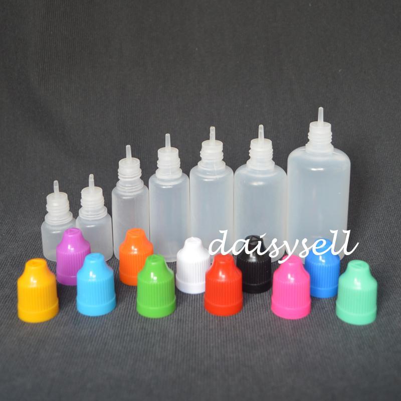LDPE E Flüssigkeitflasche mit kindersicherer Kappe und langer dünne Spitze 3ml 5ml 10ml 15ml 20ml 30ml 50ml leerer Kunststoff-Tropfflasche