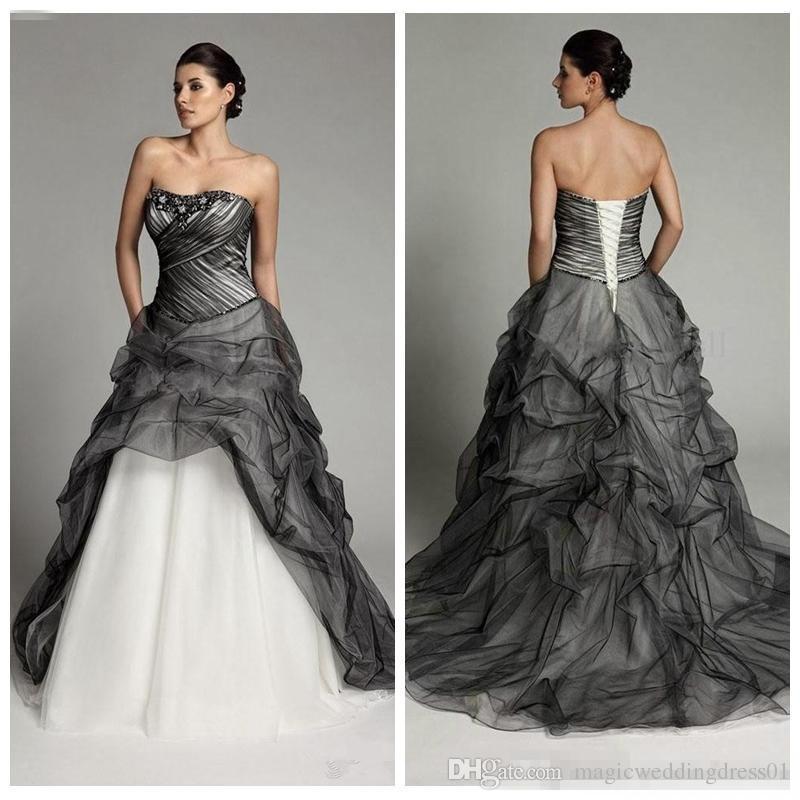 Discount Black And White Gothic Draped Skirt Wedding Dresses Beaded ...