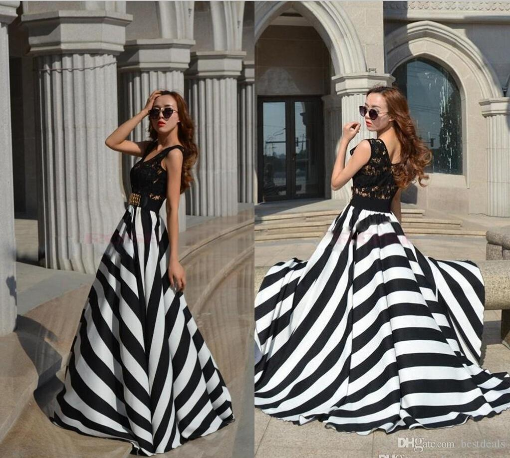 2015 New Summer Women Striped Casual Dress Boho A Line Long Maxi Beach Evening Party Dresses Lace Prom Dress Fashion Street Style OXLB056