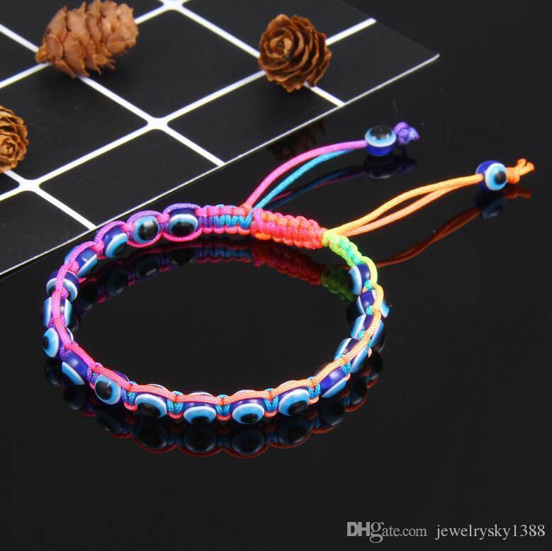 Fashion Hand-woven Evil Eye Hamsa Hand Religious Charm Blue Beads Lucky Bracelet Best Match Turkish Bracelet For Women