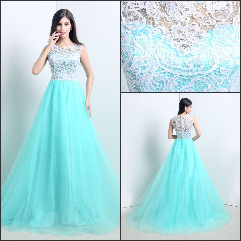 Real Image 205 Prom Dresses Sheer Neck Scoop Lace Tulle Sweep A Line ...
