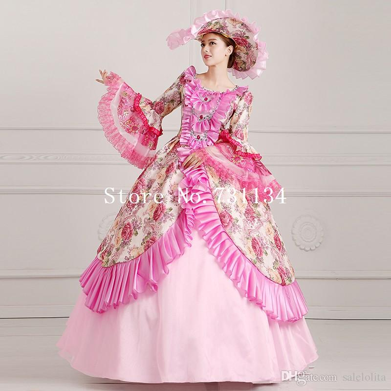 f7ca95c55e75 Elegant Pink Floral Lolita Princess Dress Southern Belle Costume  Renaissance Rococo Marie Antoinette Dresses Themed Halloween Costumes For  Groups Themed ...