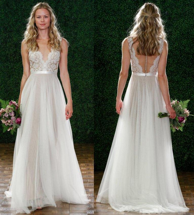 Low Back 2015 Summer Lace Beach Wedding Dresses With Sheer Deep V