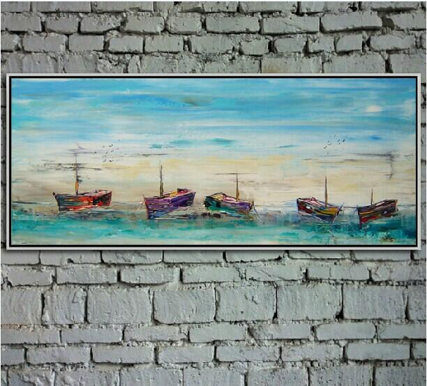 Hand Painted Top Quality Scenery Canvas Painting Boats Art on Wall for Home or Business Decoration 1pc